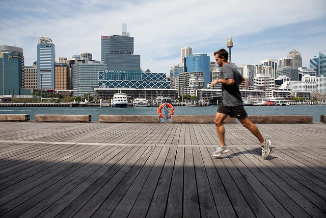 Running at Darling Harbour